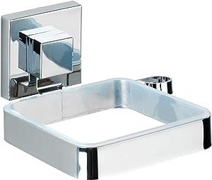 WENKO Vacuum-Loc Hair Dryer Holder Quadro, 14 x 13.5 x 7.5 cm, Silver Shiny