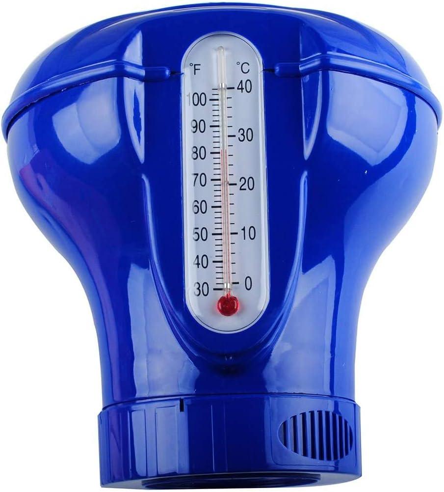 tableta dispensador de jab/ón y ducha KKmoon Dispensador de jab/ón flotante para piscina cloro qu/ímico con term/ómetro