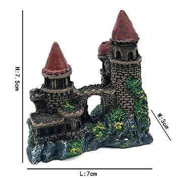 YWJHY Adornos para Acuarios Simulación de Resina Castillo Acuario Pecera Decoraciones Protección del Medio Ambiente Escalada