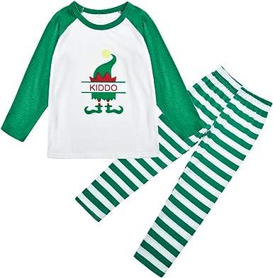 Baijiaye Navidad Familia Pijamas Pijamas navideñas para Parejas Pijama Estampado Familiar Pijama Familiar a Rayas