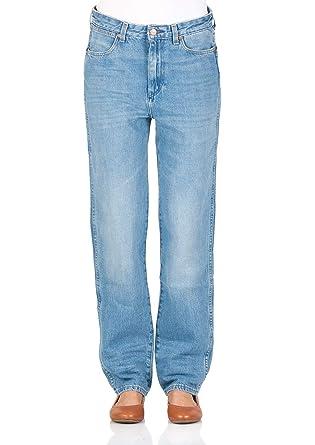 df4f465ab2af Wrangler Damen Jeans Retro Boyfriend - Blau - B Y Hot Shot  Amazon ...