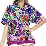 LA LEELA Likre spring printed matching Hawaiian clothes plain embroidered fiesta girls alohawear vintage Anthemion Tacky Violet M