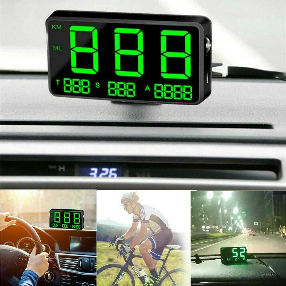 MASO - Velocímetro digital universal para coche o moto con GPS OBD-II, sistema de alarma de sobretensión MPH/KM/h