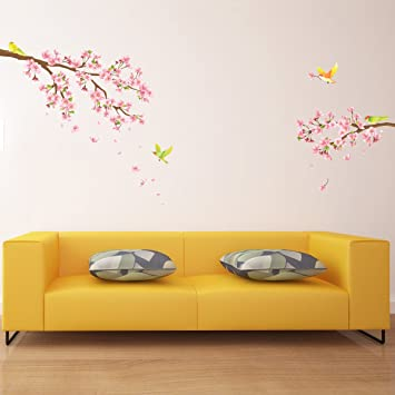 Decowall DW 1303 Cherry Blossoms And Birds Kids Wall Decals Wall Stickers  Peel And Stick