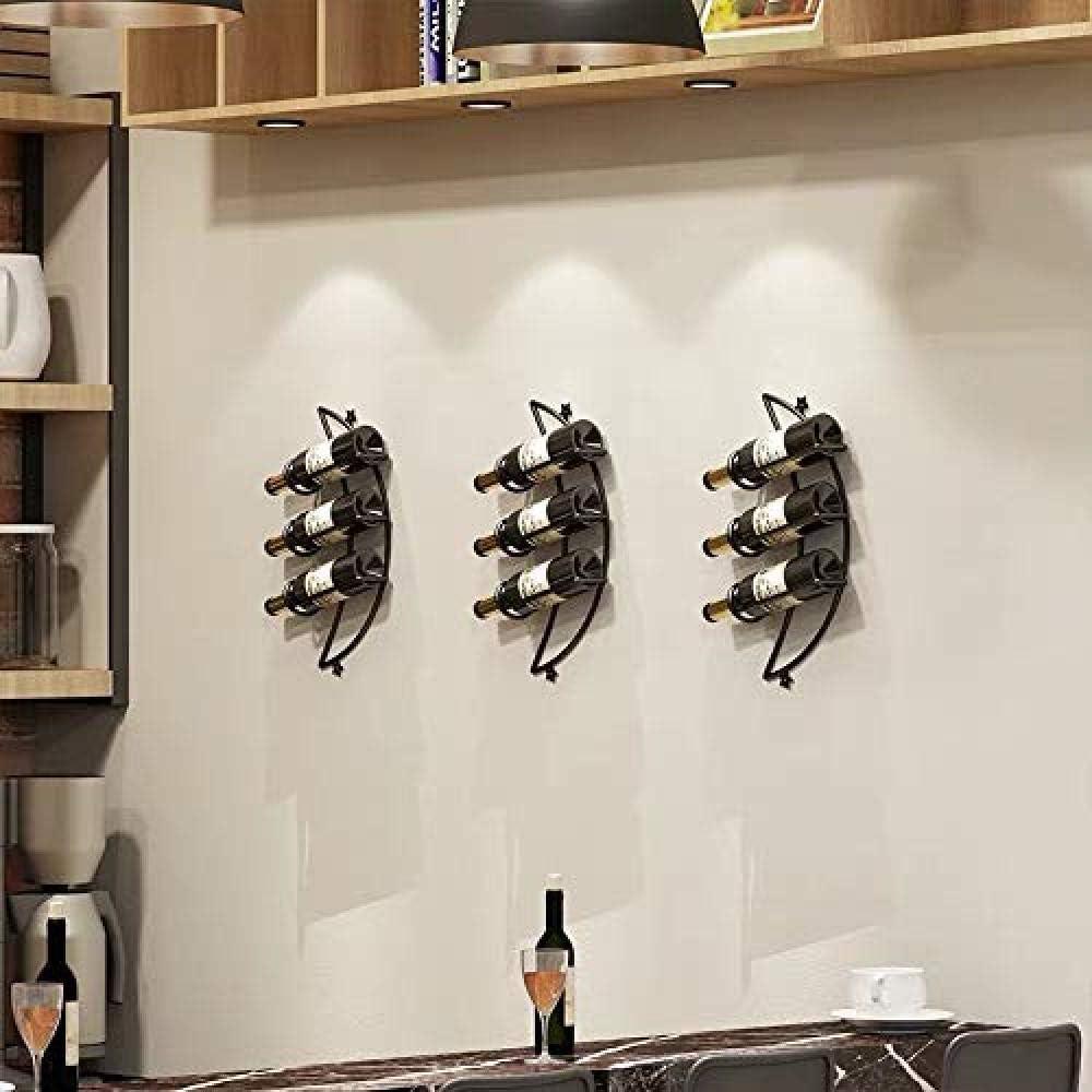 QTWW Wall Mount Wine Rack Wine Cooler For Restaurants, Bars, Daily Home Furnishings Etc,Black Black