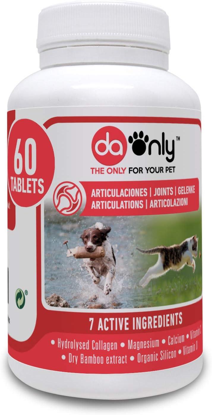 DAONLY colágeno Natural antiinflamatorio para Perros  60 Comprimidos  Pastillas Naturales   Alternativa a medicamentos y condroprotectores para Gatos