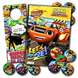 BLAZE and the MONSTER MACHINES Coloring Book and Stickers Super Set Bundle ~ Blaze Coloring Book with Blaze Stickers & Specialty Door Hanger