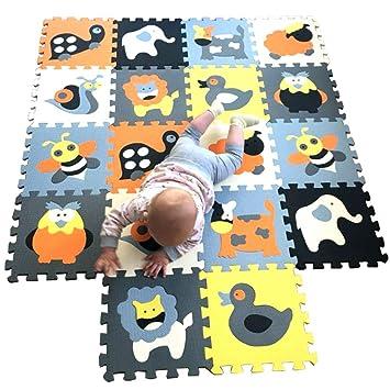MQIAOHAM 18pcs niños Suaves Espuma Rompecabezas Infantil gateando bebé tapetes Juego Gimnasio área Alfombra Piso para niños no tóxico Actividad ...