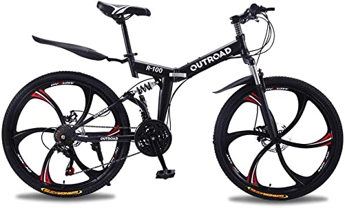 Outroad Mountain Bike 6 Spoke 21 Speed 26 in Folding Bike Double Disc Brake Suspension Fork Rear Suspension Anti-Slip Bicycles
