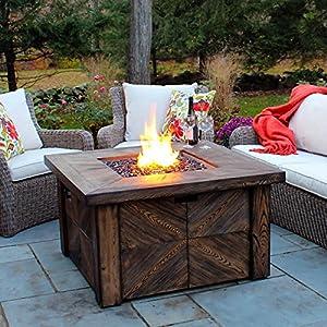 Amazon Com Global Outdoors Propane Faux Wood Fire Table