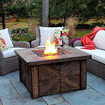Global Outdoors Propane Faux Wood Fire Table