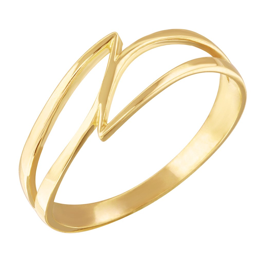 Dainty 10k Gold Double Swish Outline Open Design Ring (Size 11)