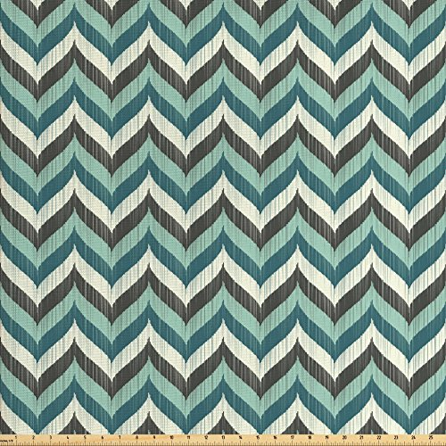 Aqua Fabric by the Yard by Lunarable, Wavy Whale Tale Shapes Chevron Zig Zag Image Grunge Stripes, Decorative Fabric for Upholstery and Home Accents, Black Turquoise White and Petrol Blue (Upholstery Fabric The Yard Chevron By)
