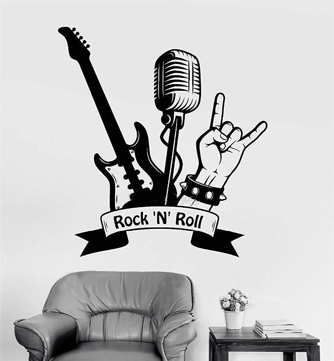 Vinilos De Pared Decorativos Rock Roll Guitarra Micrófono