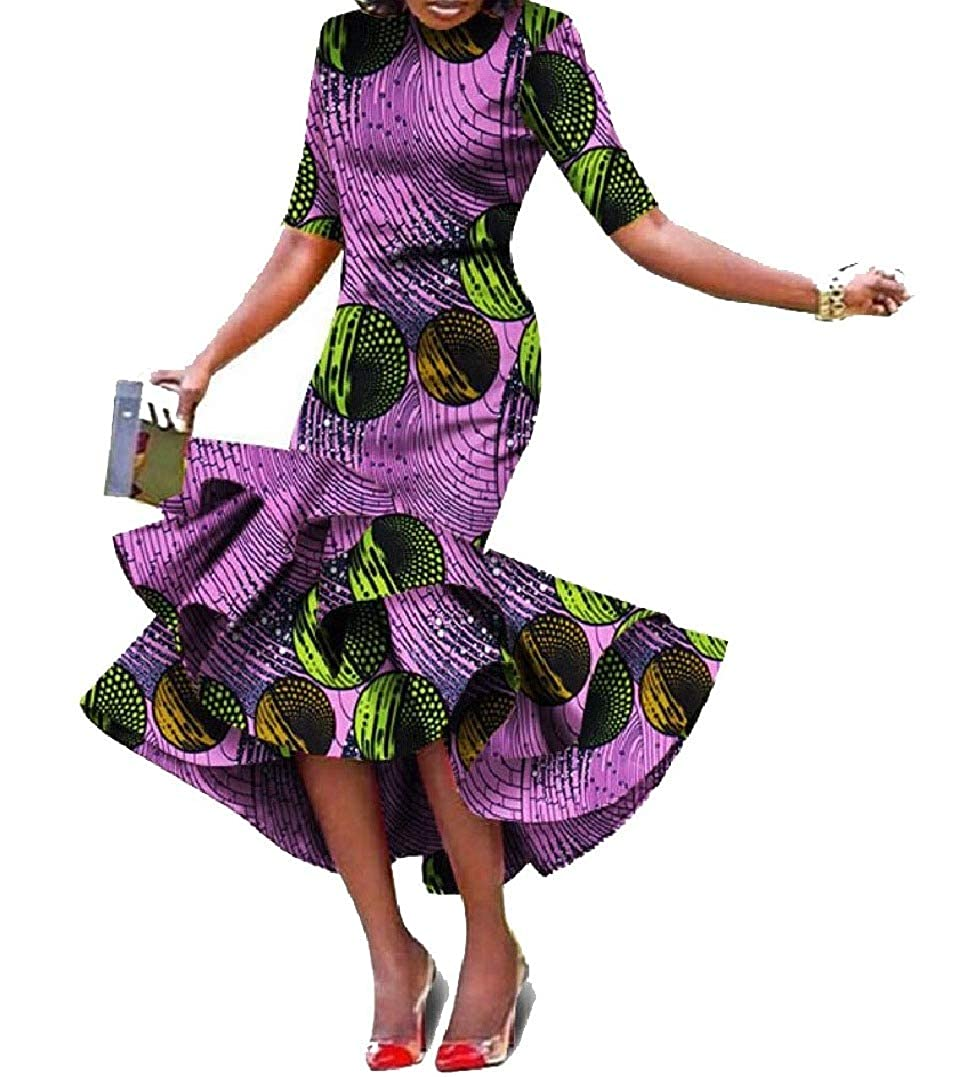 Pattern26 HEFASDM Women ShortSleeve Ethnic Ball Gown African Style Irregular Long Dress