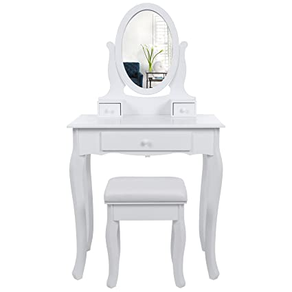 Wondrous Songmics Wall Fixed Dressing Table With Stool And Mirror 3 Drawers Vanity With 2 Divider Rdt004 Machost Co Dining Chair Design Ideas Machostcouk