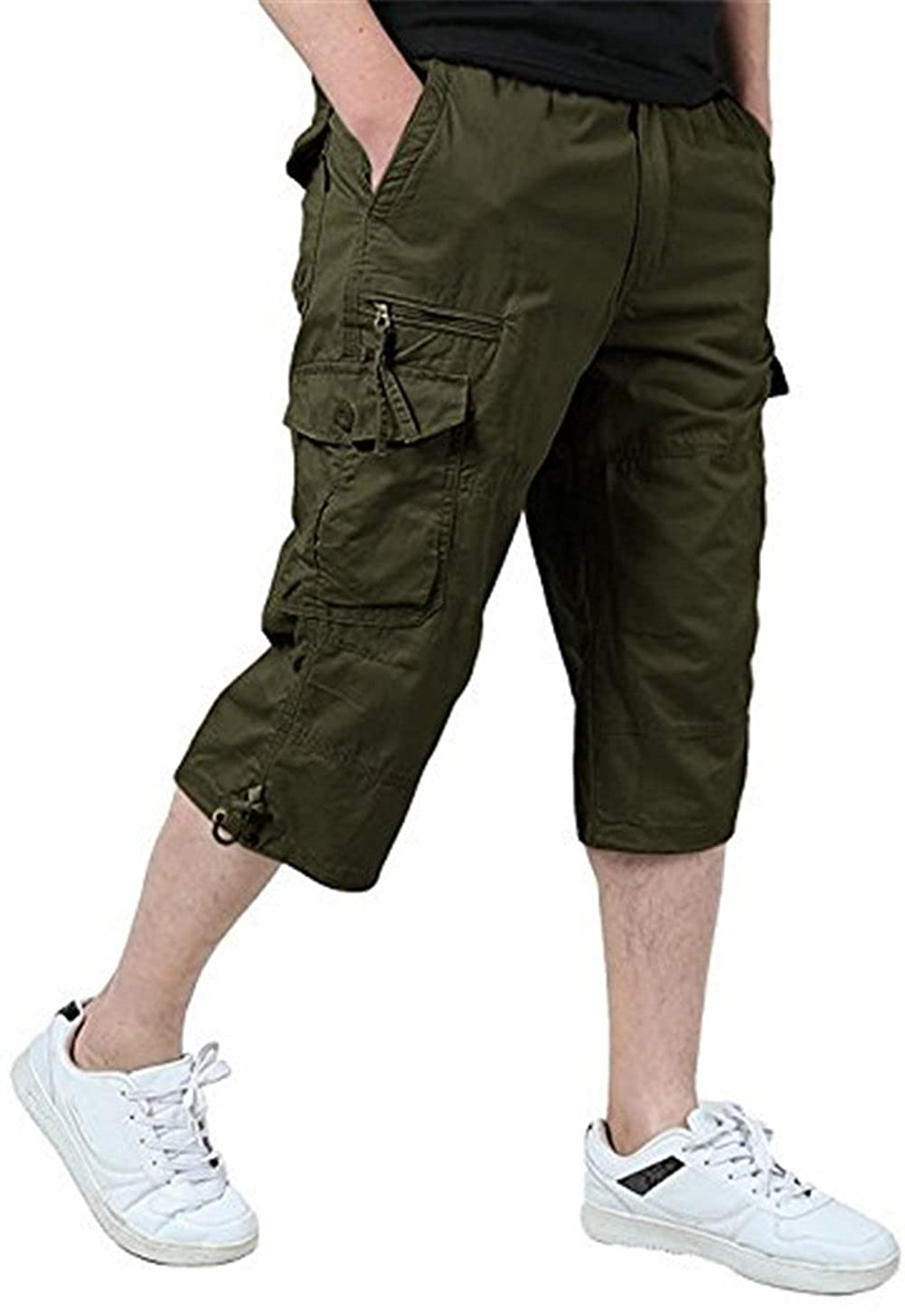 fadbad2cec Mens elastic waist capri style long military style cargo shorts is  comfortable and soft, fashion and breathable. Adjustable waist,multiple  pockets, ...