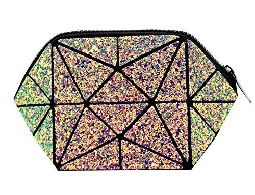 Geometric Glitter Sequins Wristlet Purse Bling Evening Handbag Makeup Bag Clutch Wallet for Women Girls