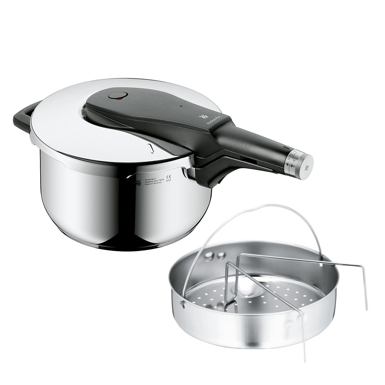 WMF Perfect Pro Pressure cooker 4,5l with insert Ø 22cm Made in Germany internal scaling Cromargan stainless steel suitable for induction 0796226040 07.9622.6040