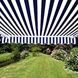 ALEKO FAB12X10BLUWT03 Retractable Awning Fabric Replacement 12 x 10 Feet Blue and White Striped