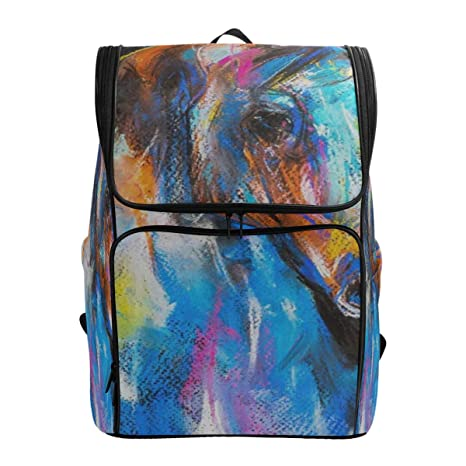 bf4c7c0bcddf Travel Backpack Animal Horse Oil Painting Gym Backpack for Women Big ...