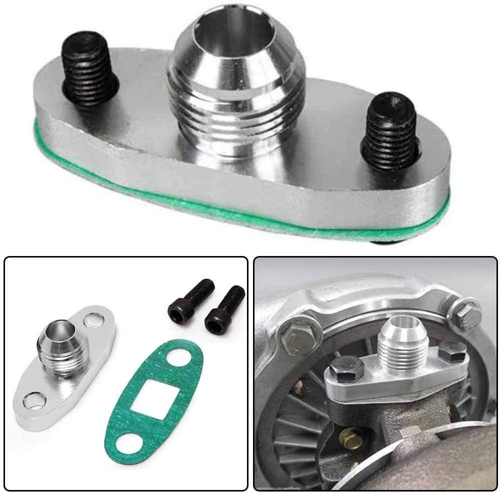 0.48 Inch Outlet Turbo Oil Drain Outlet Flange Adapter Kit with Gasket 10 AN Fitting T3 T4