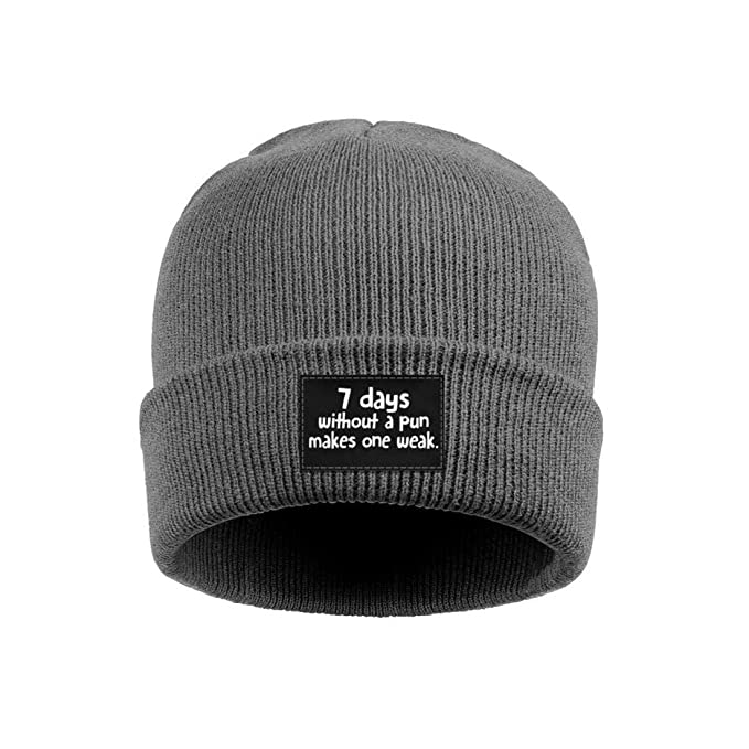 9ce1526b747 Unisex Knit Hats 7 Days Without A Pun Makes One Weak Thick Soft Winter Warm  Slouchy
