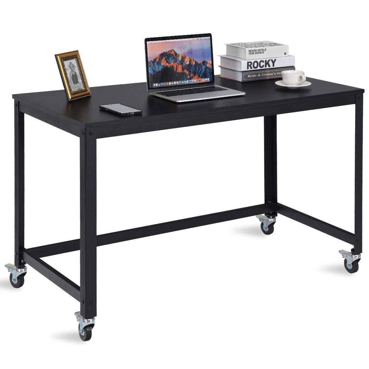 TANGKULA Computer Desk Wood Portable Compact Simple Style Home Office Study Table Writing Desk Workstatation with Wheels, Home Office Collection Work Table (Black)