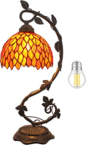 Tiffany Lamp Stained Glass Table Reading Light LED Bulb Included Red Wisteria Style Shade W8H20 Inch S523R WERFACTORY Lamps Parent Lover Kid Living Room Coffee Bar Desk Bedside Antique Crafts Gift