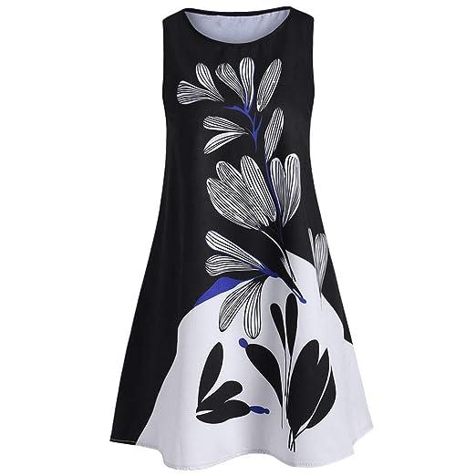 1771041327d1 Summer Women Casual Printed Round Neck Sleeveless Tank Skirt Short Dress  Fashion Vintage Loose Sundress Black