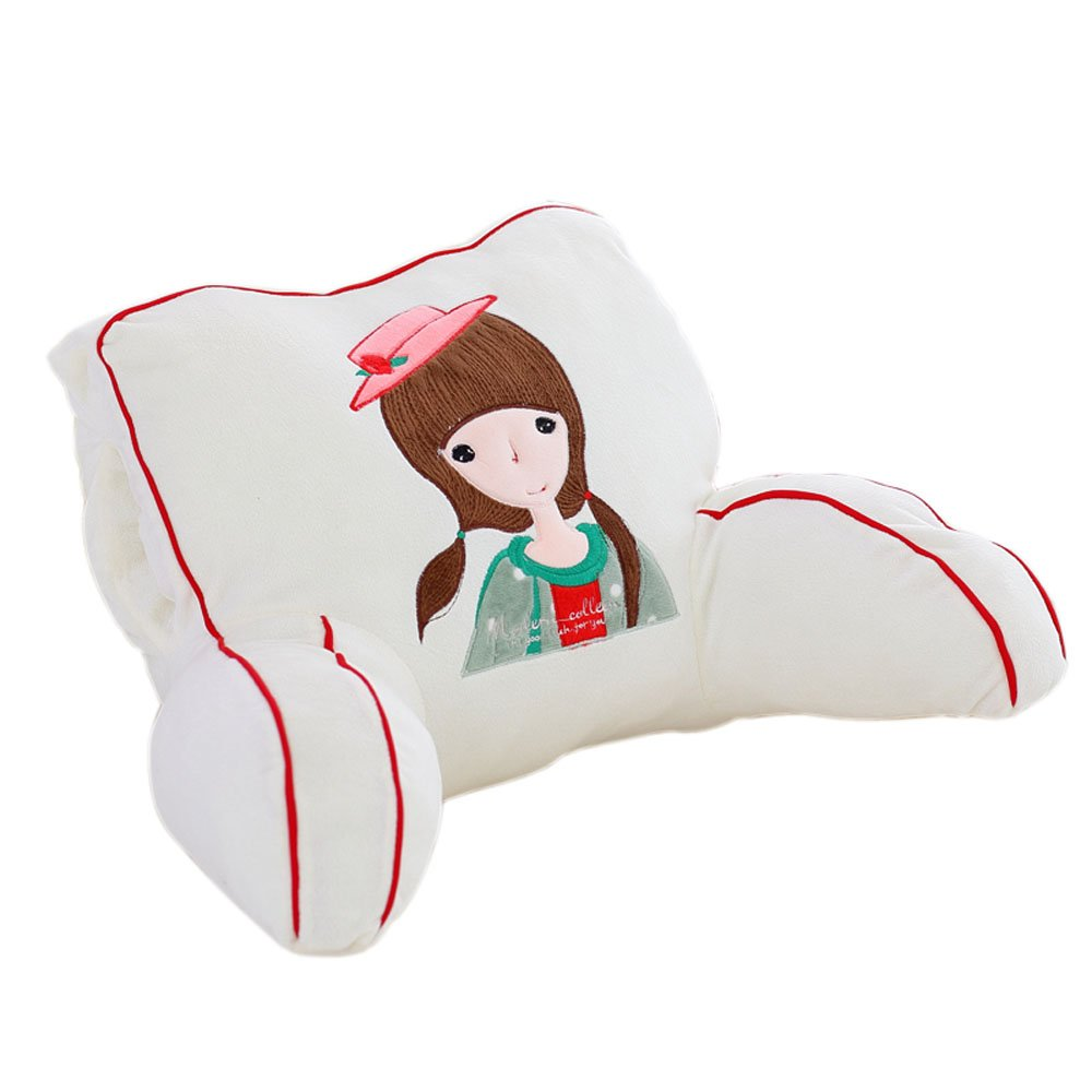 Mlotus Cartoon Girls Backrest Cushion Plush Hand Warmer Bed Rest Pillows with Arms White 20 x 12