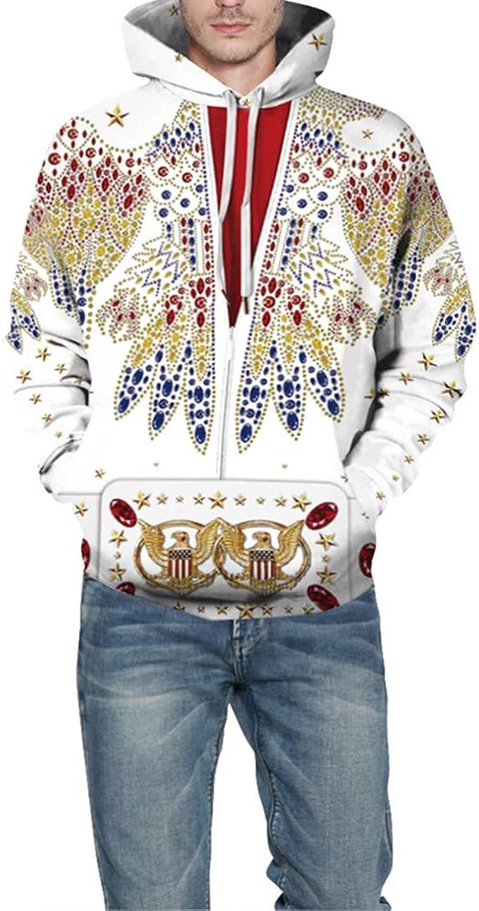 Disfraz de Elvis Presley Sudadera con Capucha Unisex Adulto para ...