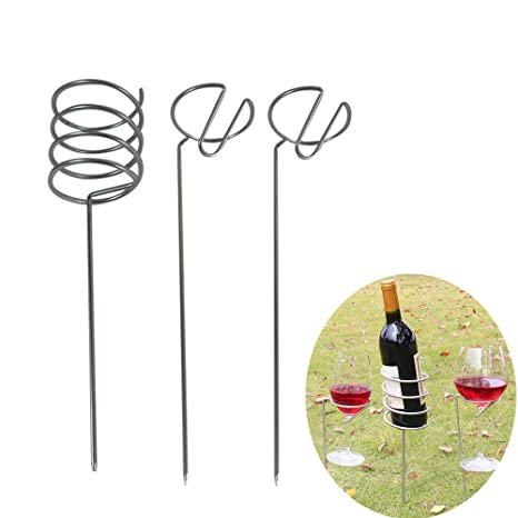 10dcce92cf1 Image Unavailable. Image not available for. Color: MaxFox Outdoor Wine Glass  & Bottle Holder Stake Metal Rack Set Wine Cup Rack for BBQ