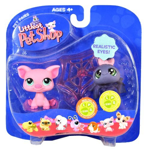 Hasbro Year 2007 Littlest Pet Shop Pet Pairs Series Bobble Head Figure Set - Real Feel Pets #329 Pink Pig and Totally Talented Pets #330 Grey Spider with Realistic Eyes and Cobweb