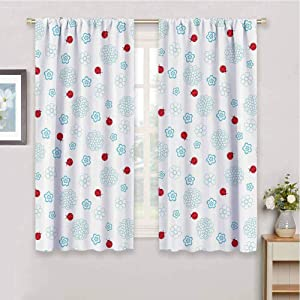 Premium Blackout Curtains Ladybugs Decorations Collection Ladybugs Flowers Summer Garden Insect Clipart Decorative Symmetry Image Print for Living Room or Bedroom W72 x L72 Inch Red Blue White