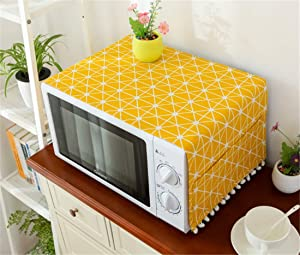 Mvchif Microwave Oven Cover Dustproof Cotton Machine Protector Decorative Kitchen Appliance Cover with Side Storage Pockets 11.8x35.4inches (Yellow Grids)