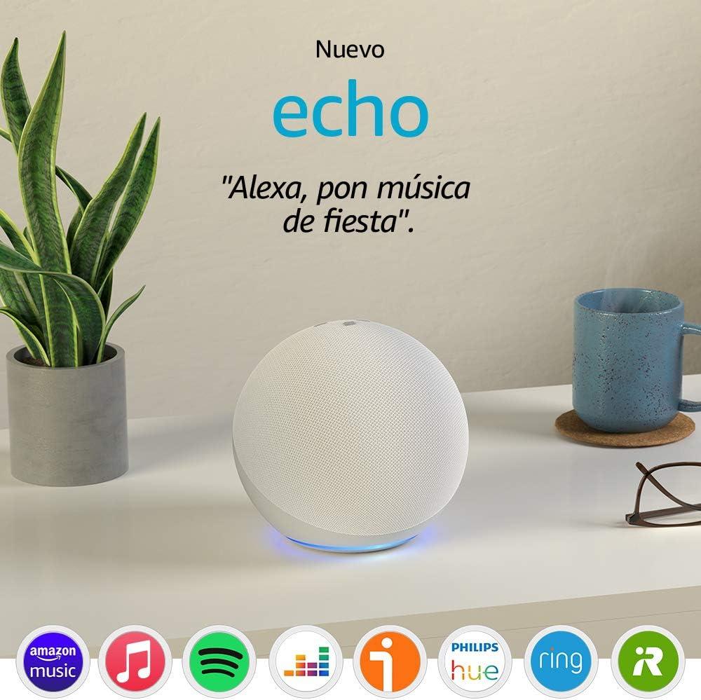 Nuevo Echo (4.ª generación) | Sonido de alta calidad, controlador de Hogar digital integrado y Alexa | Blanco