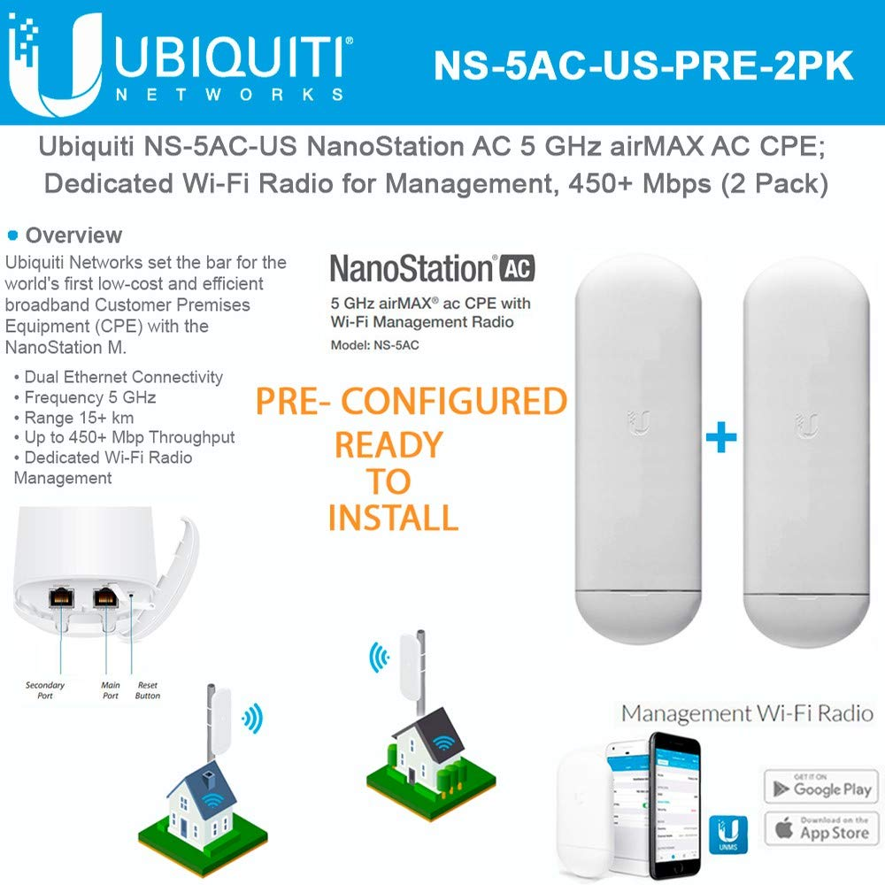 NanoStation AC NS-5AC-US PRE-CONFIGURED 5 GHz Airmax AC CPE; Dedicated Wi-Fi Radio for Management, 450+ Mbps Throughput (2 Pack) by UBNT Networks