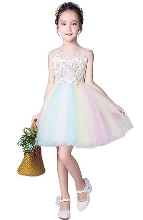 725864b2c177e Weileenice® 子供服 フォーマルドレス 女の子 ミニドレス 刺繍 フラワー プリンセス 膝丈 結婚式