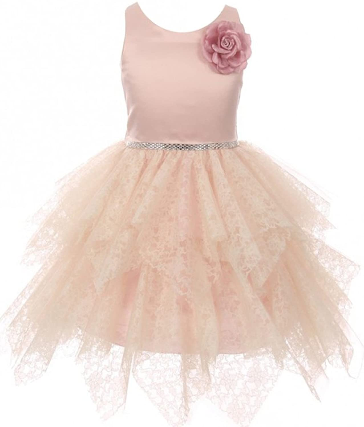 98db8dd46 BNY Corner Flower Girl Dress Satin Bodice Lozenge Cut Tiered Tulle Lace  Dress