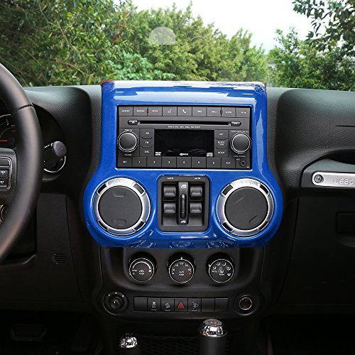 RT-TCZ Inner Accessories Center Console Dashboard Control Panel Cover Trim For Jeep Wrangler JK & Unlimited (Center Console Panel)