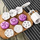Moon Cake Mold With 6 Stamps - Mid Autumn Festival DIY Decoration Press 50g White