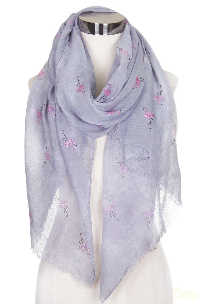 ScarvesMe Fashion Pink Glitter Flamingo Tie Dyed Print Oblong Scarf (Grey)