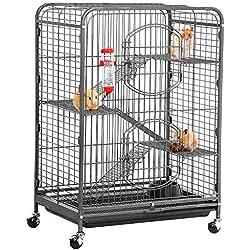 Yaheetech 37'' Metal Ferret Cage Indoor Outdoor Small Animals Hutch w/ 2 Front Doors/Feeder/Wheels for Squirrel Guinea Pig Chinchilla Sugar Glider,Black