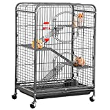 Yaheetech 37'' Metal Ferret Chinchilla Cage Indoor Outdoor Small Animals Hutch w/ 2 Front Doors/Feeder/Wheels for Squirrel Guinea Pig Sugar Glider,Black