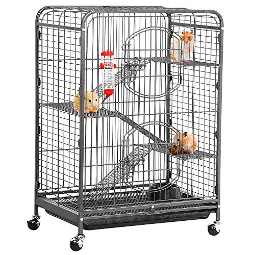 Yaheetech 37'' Metal Ferret Cage Indoor Outdoor Small Animals Hutch w/ 2 Front Doors/Feeder/Wheels for Squirrel Guinea Pig Chinchilla Sugar Glider,Black