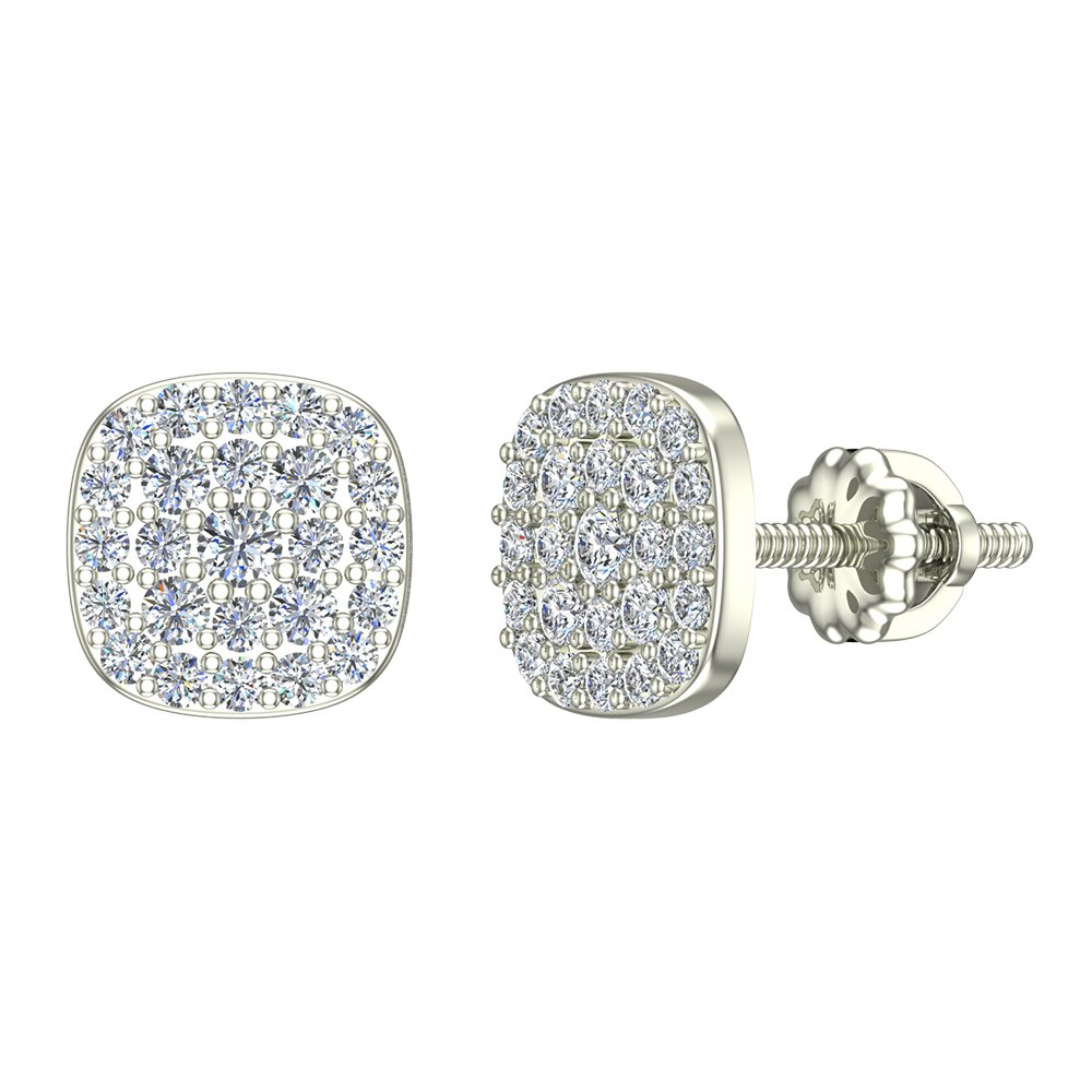 065c73322 Amazon.com: 18K Diamond Earrings Cushion Shape Pave Cluster Studs Rose Gold  (0.50 ctw) Carat Total Weight (G, VS): Jewelry