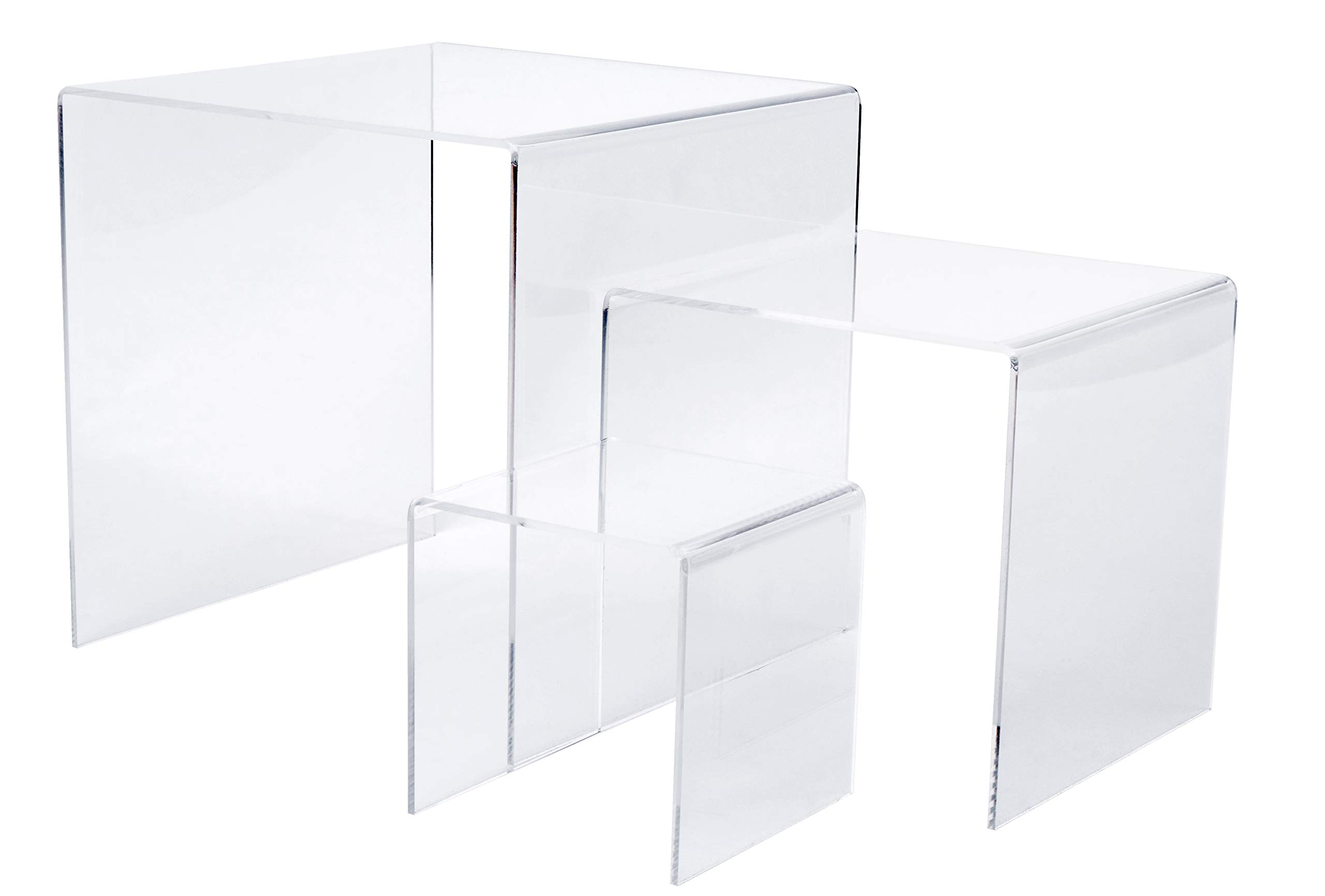 Set of 3 Premium Quality Clear Acrylic Display Stand Risers, 1/8 Inches Thick - 4, 6, 8 Inches by Red Co.