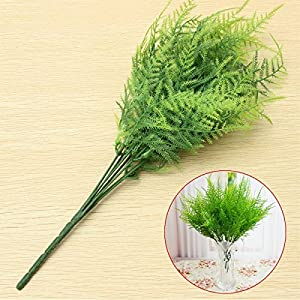 Bazaar Plastic Green 7 Stems Artificial Asparagus Fern Bush Plants Home Cafe Office Decoration 2
