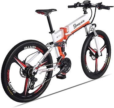 Shengmilo Bicicleta de montaña eléctrica Plegable Ebike 26 Pulgadas 350 W 21 Velocidad Shimano desviador Doble Disco Freno eléctrico Inteligente Bicicleta: Amazon.es: Deportes y aire libre